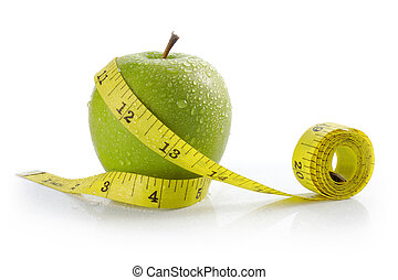 apple with measuring tape - fresh apple with measuring tape....