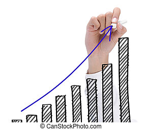 growth chart - hand drawing chart representing growth...
