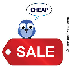 going cheap - Comical sale items going cheap isolated on...
