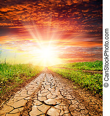 sunset over cracked rural road in green grass and cloudy sky