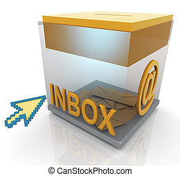 3d inbox and mouse pointer - 3d render of transparent inbox...