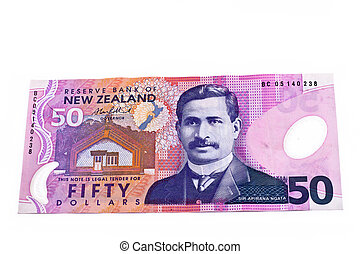 Fifty New Zealand Dollars - Dollar note in New Zealand...