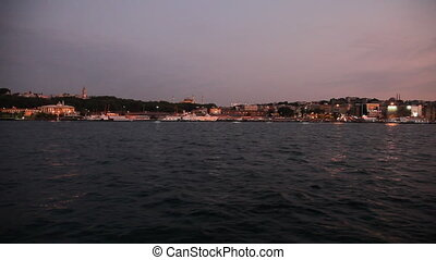 Travel along Golden Horn bay - View from the boat, Turkey,...