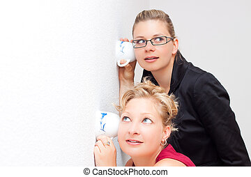 Women secret - Funny moment of two young surprised women...