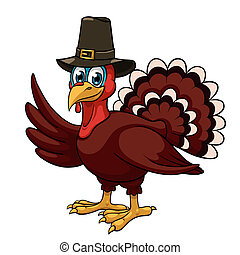 Thanksgiving turkey - A cartoon thanksgiving turkey in a...