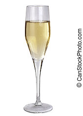 Studio photography of a champagne glass half filled,...