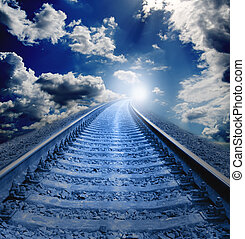 ferrocarril, noche, Va, blanco, agujero