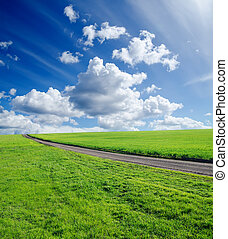 rural road, green grass and cloudy sky