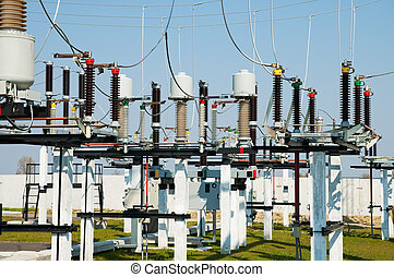 part of high-voltage substation with switches and...
