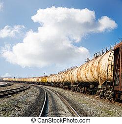 old rusty train wagons on railway
