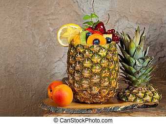 Fruit cocktail in pineapple