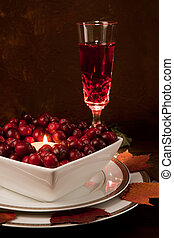 Thanksgiving dinner table with cranberries
