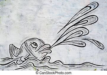 fish as graffiti on a wall