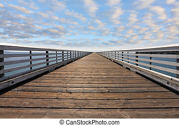 Wooden pier with handrails