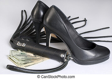 Strict Black Leather Flogging Whip, high heels shoes and...
