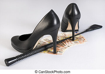 Leather Short Handle Crop, high heels and money - Leather...