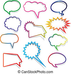 Speech bubbles collection - Collection of brightly coloured...