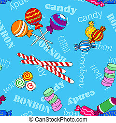 Seamless candy pattern over blue with bonbon and candy text...