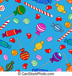 Seamless candy pattern over blue