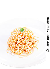 Plain spaghetti tossed in olive oil and decorated with fresh...