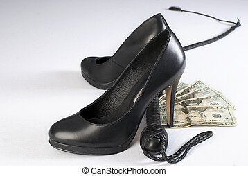 Black Leather Bullwhip, high hells shoes and money - Black...