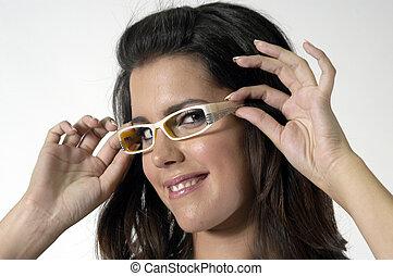 婦女, 年輕, 眼鏡