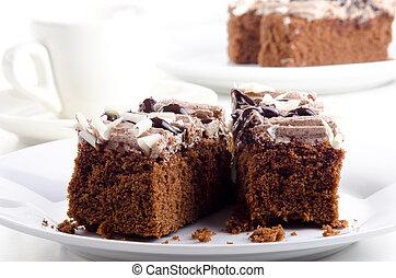 chocolate, bolo, sobremesa, sabor, café, creme