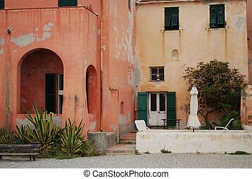 Colorful houses on the beach, Varigotti village, Liguria,...