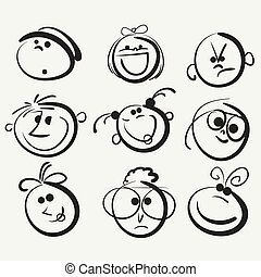 Face icon, happy people cartoon sketch