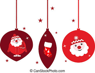 Christmas retro decoration set with Santa, isolated on white