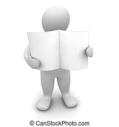 Man holding blank paper or newspaper. 3d rendered...