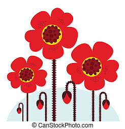 Remembrance Day symbol: red Poppy flowers isolated on white...