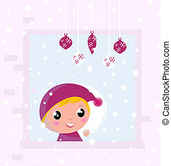 Cute Christmas Child looking on Snow through Window