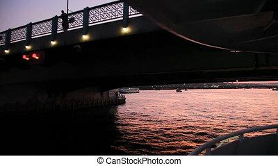 Travel under Galata bridge