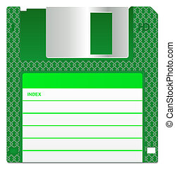 Green Floppy Disk - Green disc, isolated on a white...