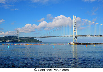 Suspension Bridge - The Akashi Kaikyo Bridge in kobe, Japan...