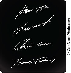Signature writing signs set