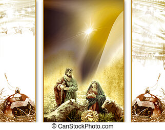 Christmas card greeting, Nativity scene - Postal Cards...