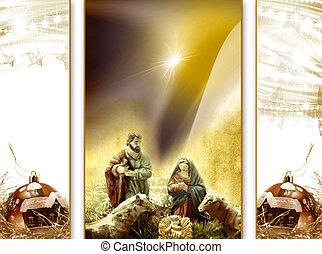 Natal, cartão, Saudação, natividade,...