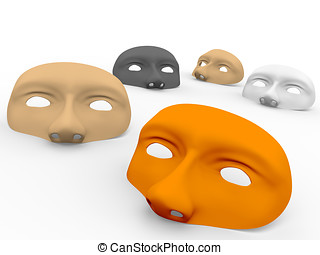 Some masks on the ground. 3d Illustration
