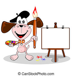 cartoon dog artist with paintbrush and easel with copy space