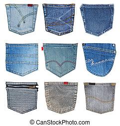 jeans pocket isolated - collection of different jeans pocket...