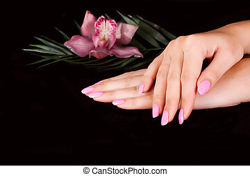 Nails with flower on black
