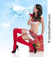 christmas girl blowing a kiss - sweet christmas girl in a...