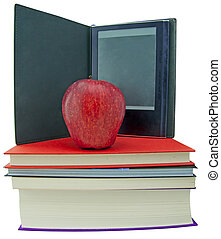 Apple, books and ebook reader - An apple on top of a books...