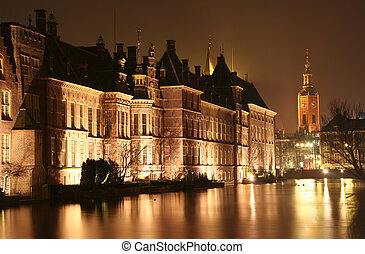 The Hague at Night - Dutch parliament Binnenhof and church...