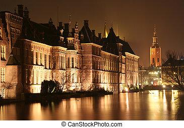 The Hague at Night - Dutch parliament Binnenhof and church...