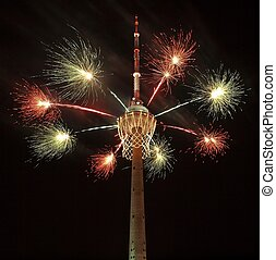 Biggest basket in the world on TV tower and fireworks -...