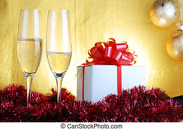 champagne glasses - Champagne glasses and gift box on...
