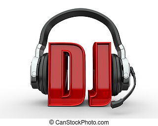 Text DJ and handphones on white isolated background 3d